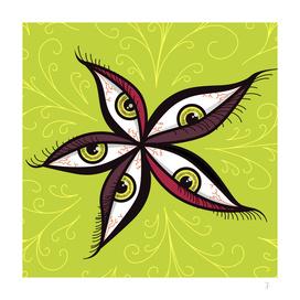 Weird Abstract Green Eyes Flower