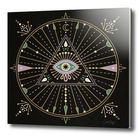 Black Evil Eye Mandala