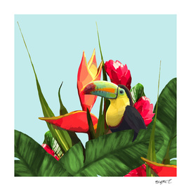 Toucan Tropical Banana Leaves Bouquet