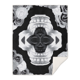 funny skull portrait with roses in black and white