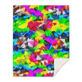 psychedelic geometric triangle abstract pattern in pink blue