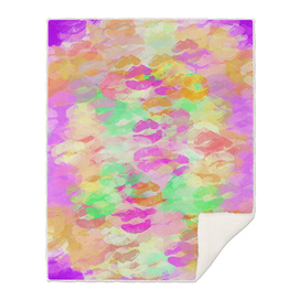 sexy kiss lipstick abstract pattern in pink orange yellow