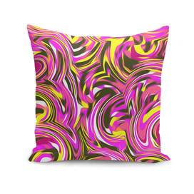 spiral line drawing abstract pattern in pink yellow black
