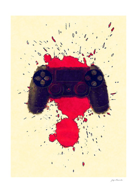 PlayStation Controller in blood