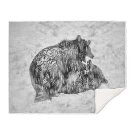 Eurasian Brown Bear Cubs (Black & White Edition )