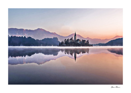 Morning Fog on Lake with Castle in Bled Slovenia