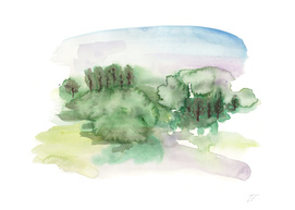 Abstract Watercolour Landscape Art Print