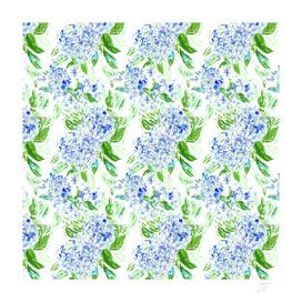 Blue Hydrangea Floral Watercolour Pattern