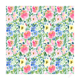 Bright Pink and Blue Watercolour Floral