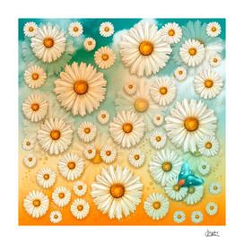 """Turquoise Moth & Marguerites"""