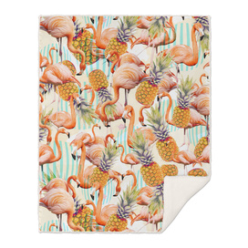Tropical pattern of flamingos and pineapple