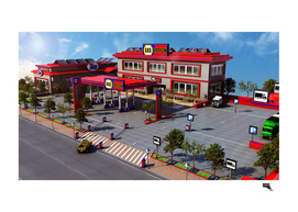 Cartoon Gas Station