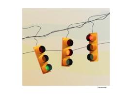 Traffic lights and sunset illustration