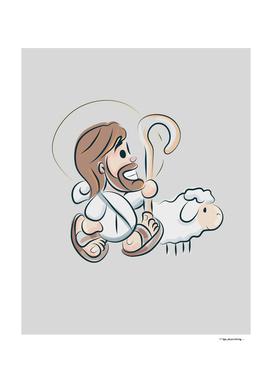 Jesus Christ Good Shepherd cartoon style