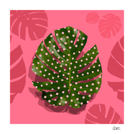 """Moss green leaf and pink flamenco polka dots"""