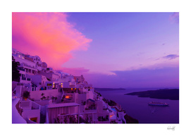 Purple sunset in Santorini