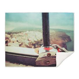 Love locks in Santorini