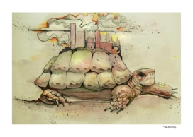 City on a turtle illustration