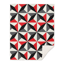 Geometric Pattern #25 (black red diamonds)