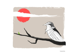 Bird on branch in oriental style
