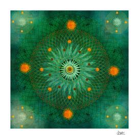 """Celestial Vault Mandala"" (Aquamarine & Gold stars Pattern)"