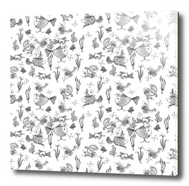 Seamless hand draw cartoon fairy fishes