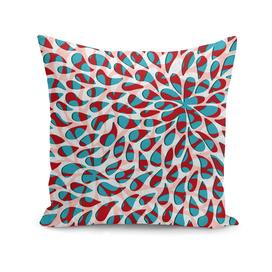 Organic Petals Pattern Red Blue