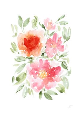 Pink and Orange Floral