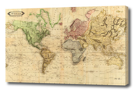 Vintage Map of The World (1831)