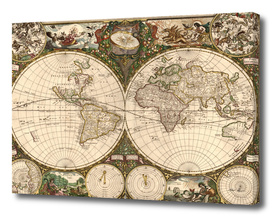 Vintage Map of The World (1660)