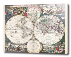 Vintage Map of The World (1685)