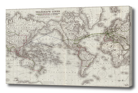 Vintage Map of The World (1855)