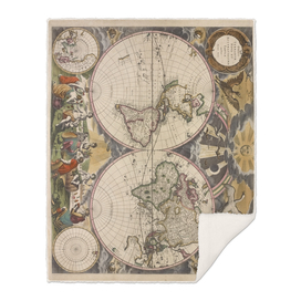 Vintage Map of The World (1672) 2