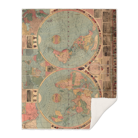 Vintage Map of The World (1883)