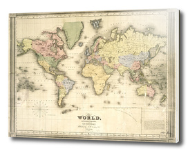 Vintage Map of The World (1840)