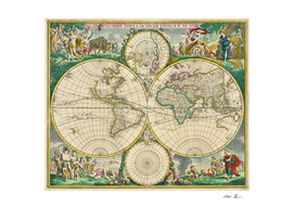 Vintage Map of The World (1670)