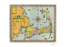 Vintage Map of Cape Cod