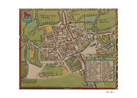 Vintage Map of Oxford England (1605)