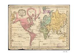 Vintage Map of The World (1760)