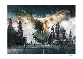 Pigeon against the backdrop of the Kremlin sketch