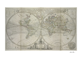 Vintage Map of The World (1736)