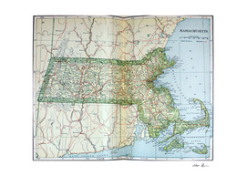 Vintage Map of Massachusetts (1905)