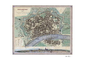 Vintage Map of Frankfurt Germany (1845)