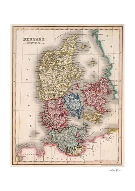 Vintage Map of Denmark (1832)
