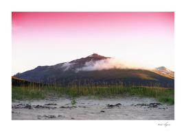 Norway mountain peak in clouds