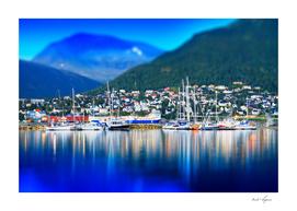 Norway classic port with dramatic illumination