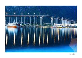 Night illumination on Norway bridge