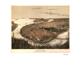 Vintage Pictorial Map of Boston MA (1877)