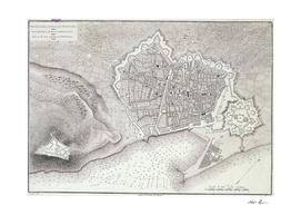 Vintage Map of Barcelona Spain (1806)