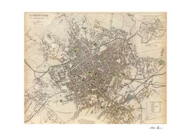 Vintage Map of Birminham England (1839)